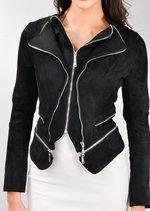 Suede Double Zip Collar Biker Jacket Black