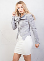 Suede Double Zip Collar Biker Jacket Grey