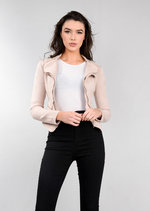 Suede Double Zip Collar Biker Jacket Pink
