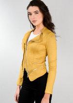Suede Double Zip Collar Biker Jacket Yellow