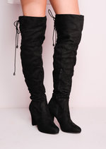 Suede Over the Knee Lace Tie Long BootsBlack