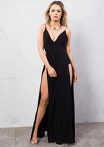 Super Thigh High Splits Maxi Dress With Bodysuit Black