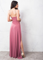 Super Thigh High Splits Maxi Dress With Bodysuit Pink
