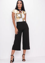 Tailored Cropped Culottes Black