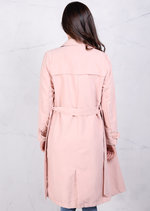 Soft Touch Lightweight Belted Waterfall Trench Coat Pastel Pink Jacket