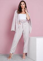 Tailored White Checked Blazer Pink