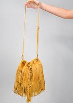 Boho Tassel Fringe Suede Drawstring Bucket Bag Mustard Yellow