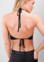 Tassel Sequin Embellished Halterneck Crop Top Multi