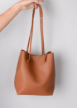 Tassel Shoulder Bucket Bag Tan Brown