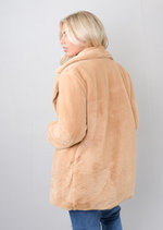 Fluffy Teddy Faux Fur Coat Camel Brown