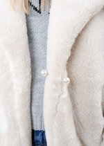 Fluffy Teddy Faux Fur Coat Cream White