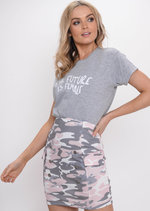 The Future Is Female Slogan T-Shirt Grey