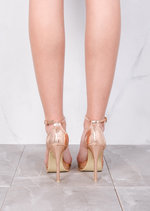 Strapped Platform Barely There Heeled Sandals Rose Gold