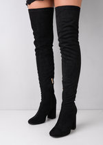 Thigh High Suede Chunky Block Heeled Long Boots Black
