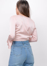 Tie Front Frill Sleeve Crop Top Pink
