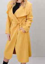 Tie Waist Long Waterfall Duster Coat Mustard Yellow