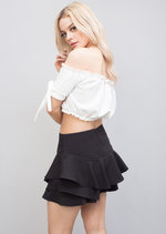 Tiered Floaty Frill Mini Skort Black