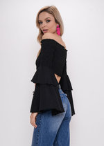 Tiered Frill Sleeve Bardot Crop Top Black