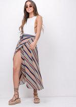 Tile Print Wrap Over Midi Skirt Multi