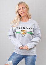 Tokyo Tiger Slogan Sweatshirt Grey
