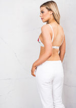 Triangle Floral Embroidered Bralet White