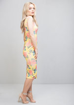 Tropical Print Midi Bodycon Dress Yellow