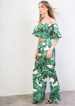 Tropical Print Off Shoulder Crop Top Palazzo Trousers Co Ord Green