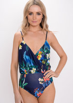 Tropical Print Wrap Front Bodysuit Navy Blue