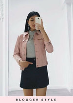 Trucker Midweight Denim Jacket with Functional Pockets Pink