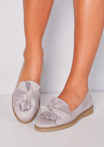 Twist Front Faux Suede Loafer Flats Grey