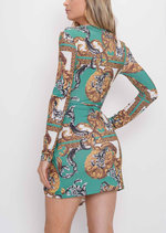 Twist Front Scarf Print Mini Dress Green