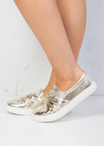 Twist Front Slip On Pumps Sneaker Shoes Metallic Gold