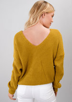 Twist Knot Front Knitted Jumper Mustard Yellow