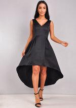 V-Neck Dip Hem Midi Skater Dress Black