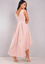 V-Neck Dip Hem Midi Skater Dress Pink