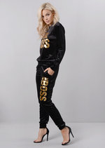 Velour Girl Boss Slogan Tracksuit Loungewear Set Black