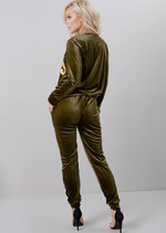 Velour Girl Boss Slogan Tracksuit Loungewear Set Khaki Green