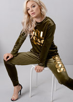 Velour Girl Boss Slogan Tracksuit Loungewear Set Khaki Green