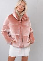 Velvet Cropped Puffer Jacket Coat Pink