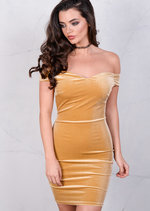 Velvet Off The Shoulder Sweetheart Mini Bodycon Mustard Dress