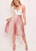 Velvet Pleated Midi Skirt Blush Pink