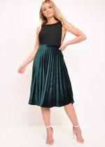 Velvet Pleated Midi Skirt Dark Green