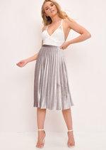 Velvet Pleated Midi Skirt Grey