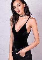 VelvetPlush V-Neck Bodysuit Black