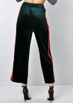 Velvet Stripe Culotte Trousers Green