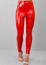 Vinyl High Waist Leggings Red
