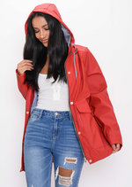 Waterproof Hooded Festival Rain Mac Coat Red
