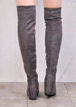 Wedge Knee High Flat Long Boots Suede Grey