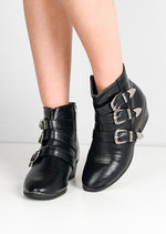 Western Multi Buckle Strap Ankle Boots Black
