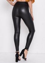 Wet Look High Waisted Leggings Black